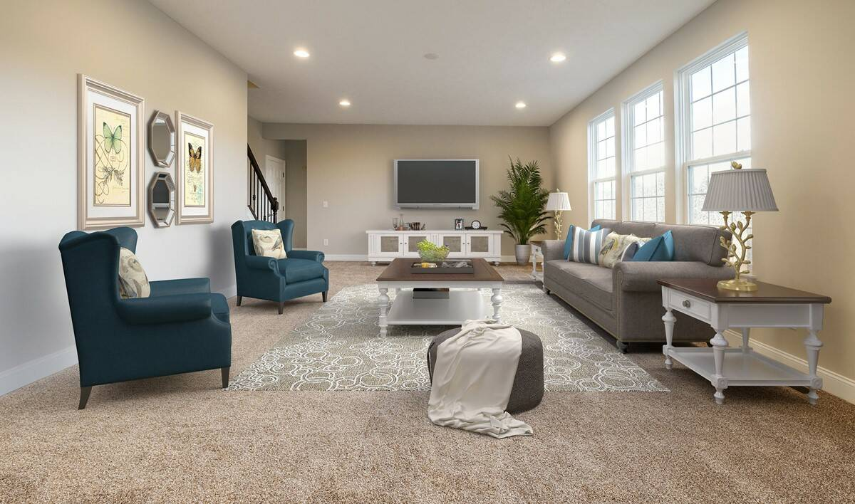 family room with bright light