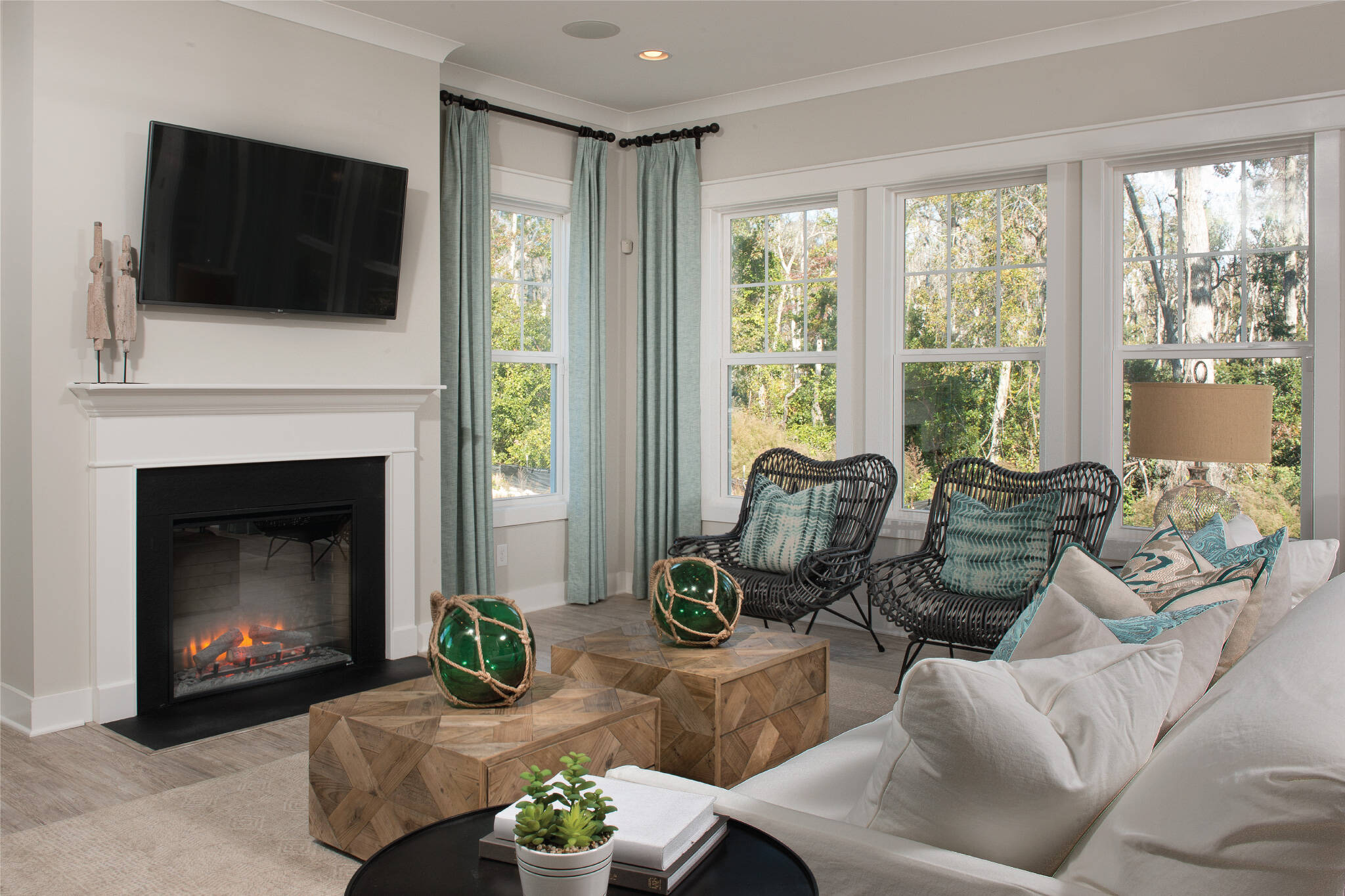 great room with optional fireplace in surfside at magnolia place new townhomes in hilton head island south carolina