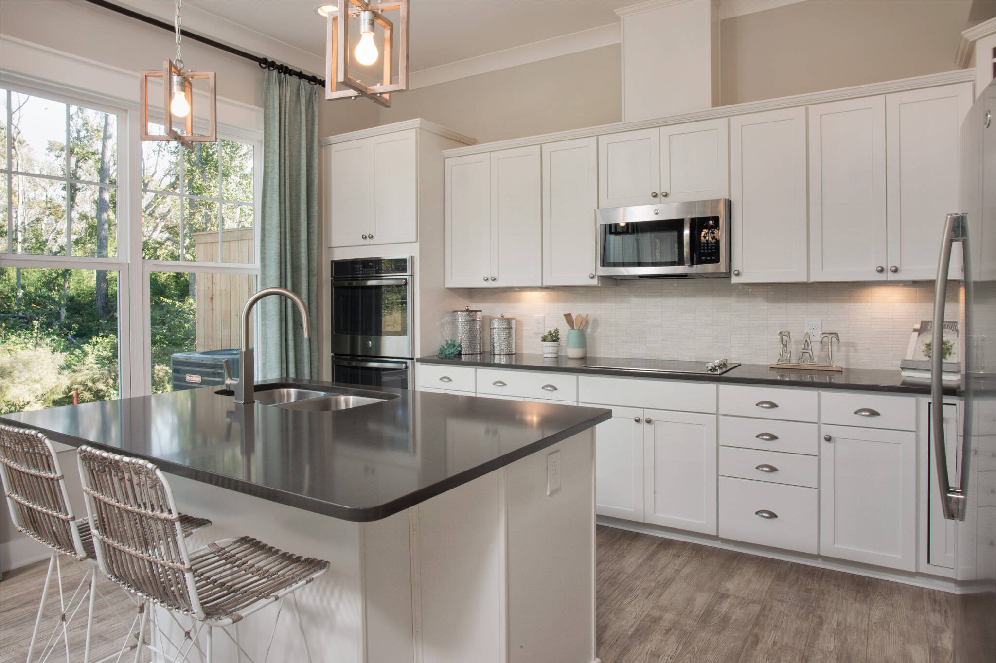 kitchen with island in surfside at magnolia place new townhomes in hilton head island south carolina