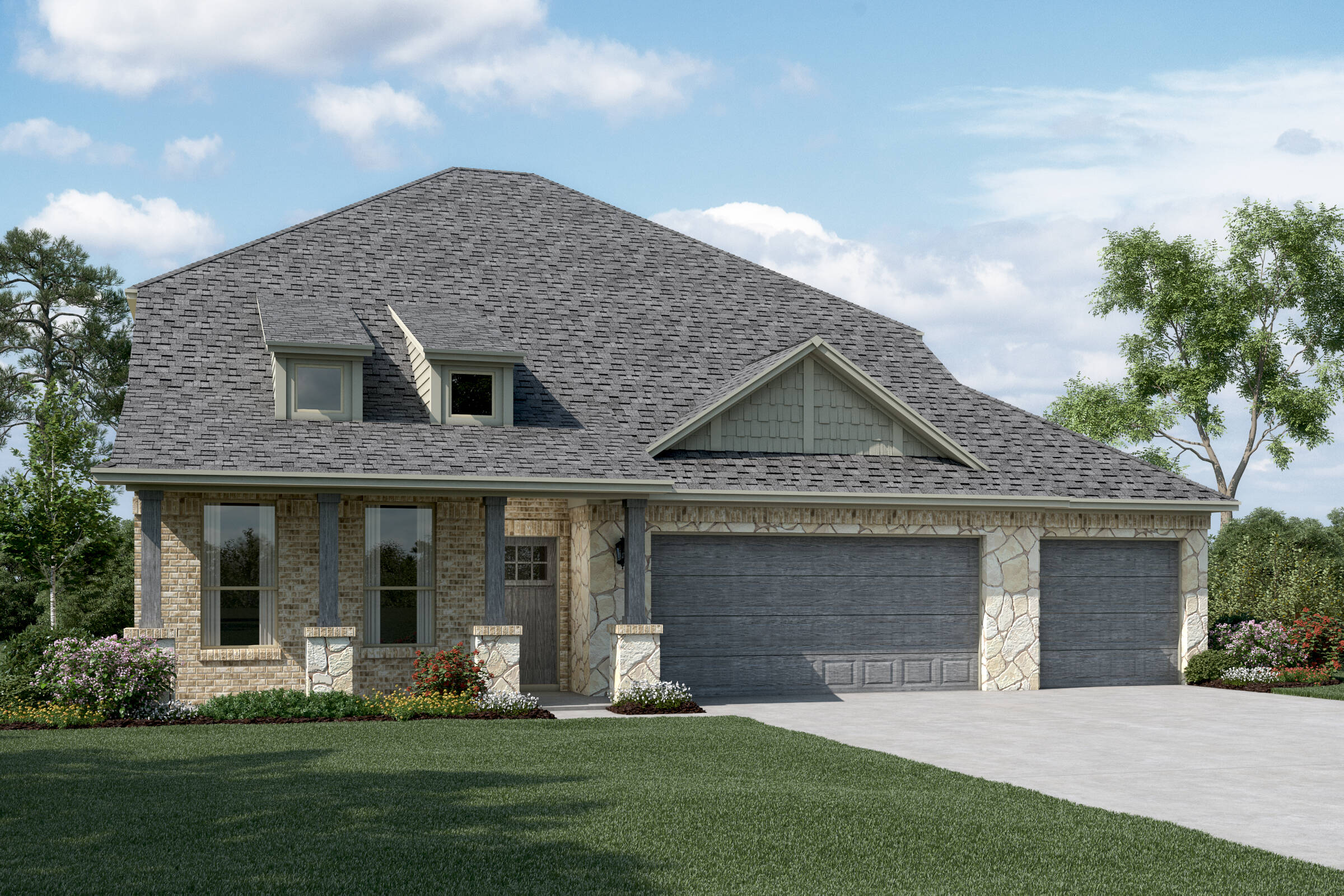 Calloway II C Stone 3 Car new homes dallas tx