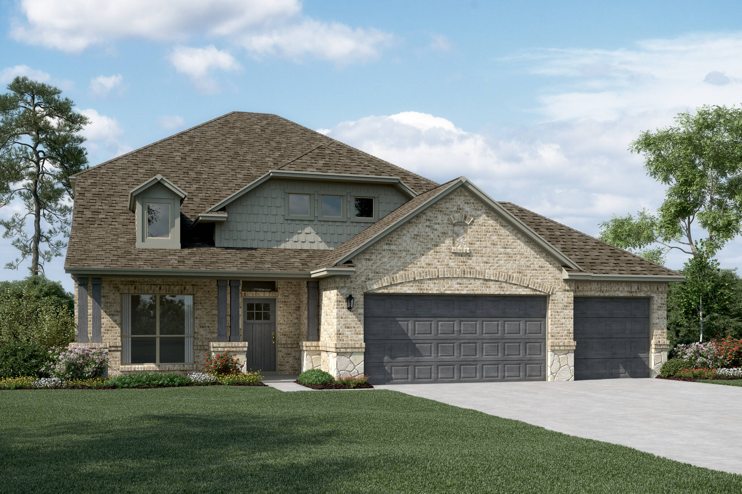 Delaware II C Stone 3 Car new homes dallas tx