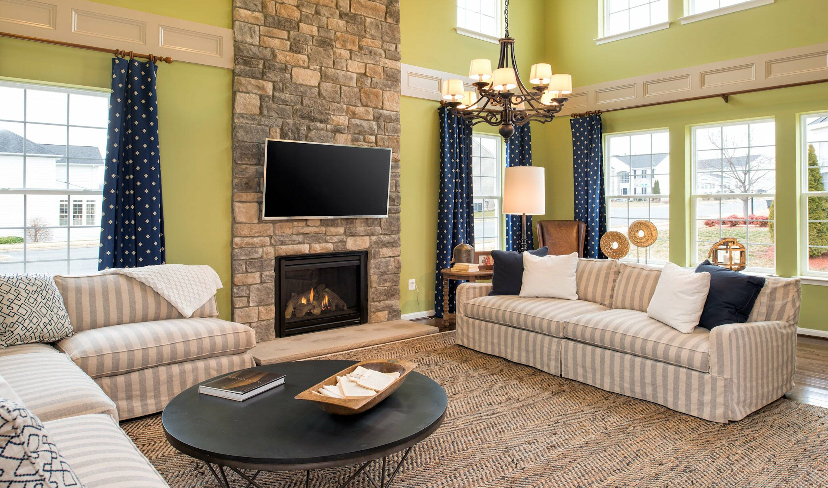 Two- story family room with available gas fireplace